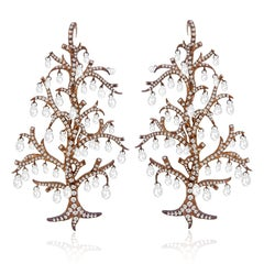 18Kt Nature Inspired Red Carpet Earrings with Dangling Briolette Cut Diamonds