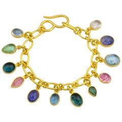 Loren Nicole Classic 22k Yellow Gold Cable Chain Gemstone Charm Bracelet