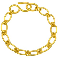 Classic 22 Karat Yellow Gold Handmade Cable Chain Bracelet