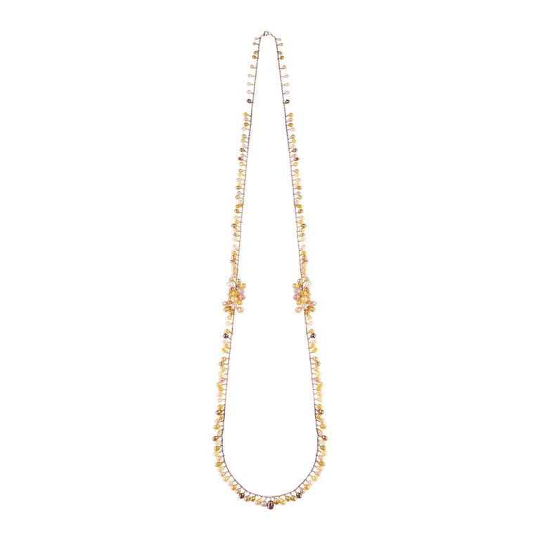 Multi-Color Briolette Cut Diamond Gold Chain Necklace