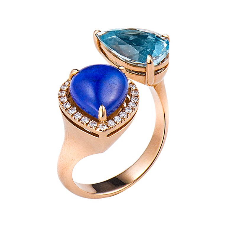 Aquamarine Lapis Diamond Gold Ring For Sale