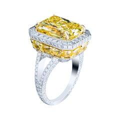 7.73 Carat Radiant Cut Fancy Yellow Diamond Halo Ring