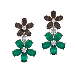 Brown Diamond and Emerald Blossom Drop Earrings