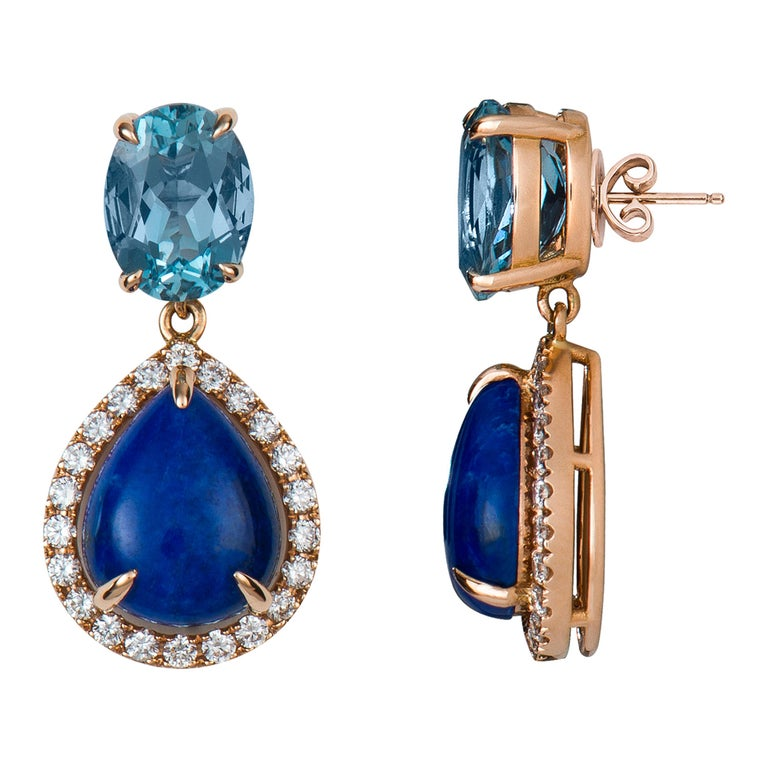 This handcrafted two stone aquamarine and lapis lazuli earring in 18K rose gold is a perfect fit for sunny summer days. Its soft colors make these earrings very easy to mix and match.   Aquamarine: 2.47 ct.  Round Brilliant Diamonds: 0.44 ct.