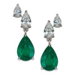 Emerald Pear Shaped Diamonds Earrings