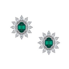 Emerald Stud Earrings with Detachable Pear Shaped Diamond Halo