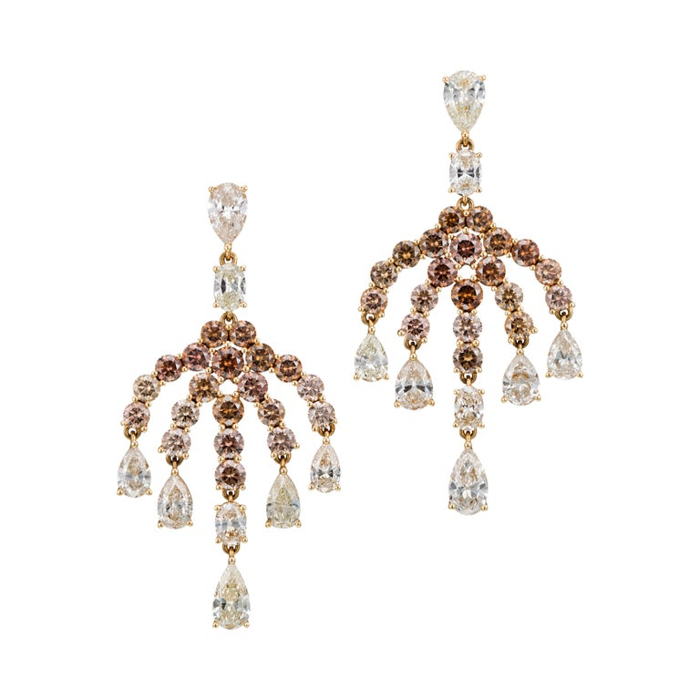 18K Gold 6.94 Carat Brown and 7.92 Carat White Diamond Earrings