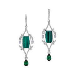 8.76 Carat Long Tourmaline Earrings