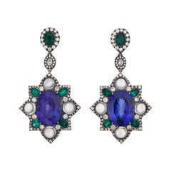 18 Karat Gold 18.7 Carat Royal Tanzanite, Emerald and Diamond Moonstone Earnings