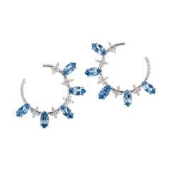 5.36 AquaMarine and Diamonds Loop Earrings in White 18 Karat Gold