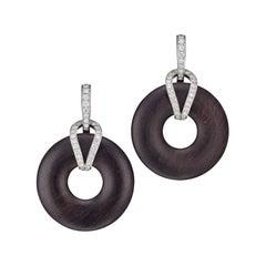 Round Ebony Diamond Earrings 18 Karat White Gold