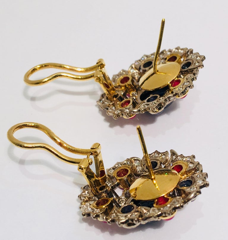 Oval Cut Blue Sapphire, Ruby and Diamond Two-Tone Gold Earrings with Retractable Posts For Sale