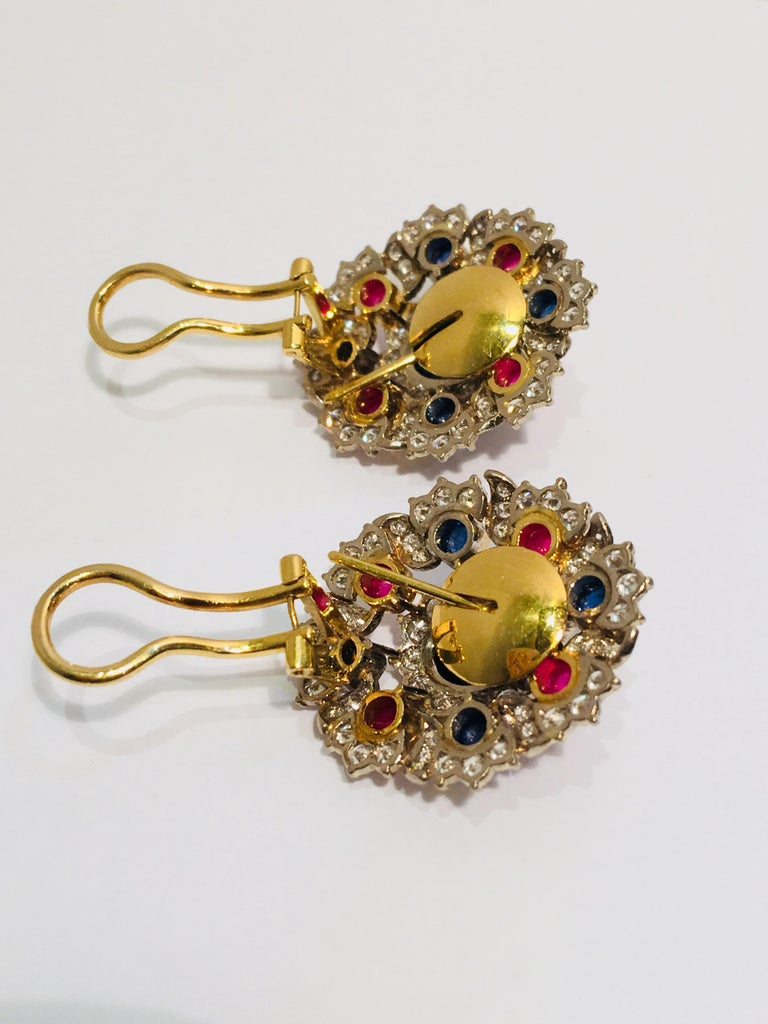 Blue Sapphire, Ruby and Diamond Two-Tone Gold Earrings with Retractable Posts In Excellent Condition For Sale In Tustin, CA