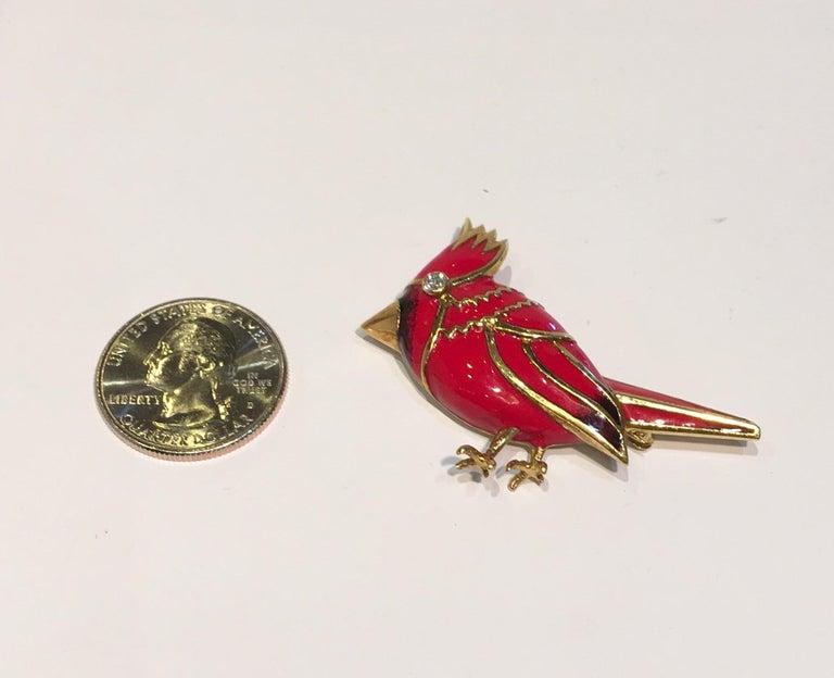 Round Cut 18 Karat Yellow Gold Red Enamel Diamond Cardinal Bird Brooch For Sale