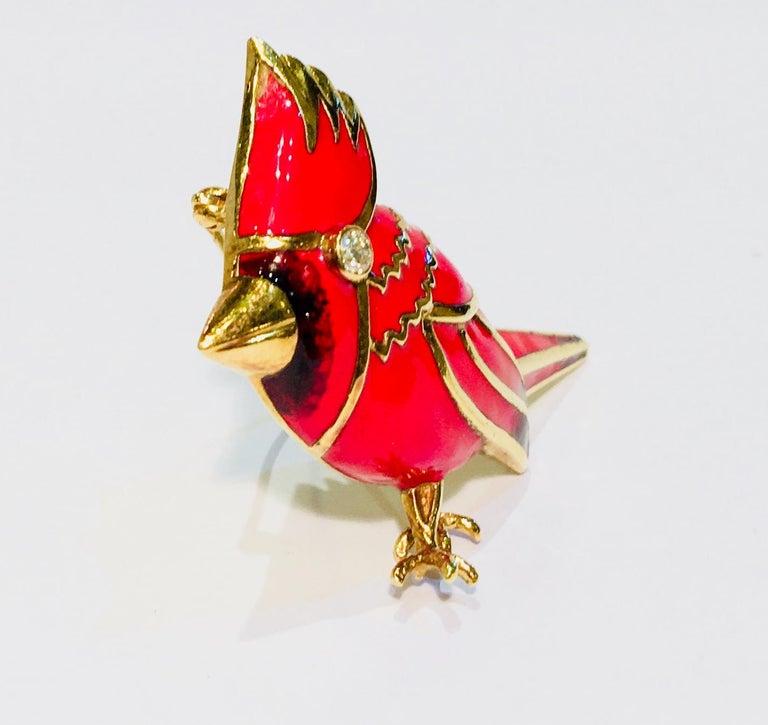 Contemporary 18 Karat Yellow Gold Red Enamel Diamond Cardinal Bird Brooch For Sale