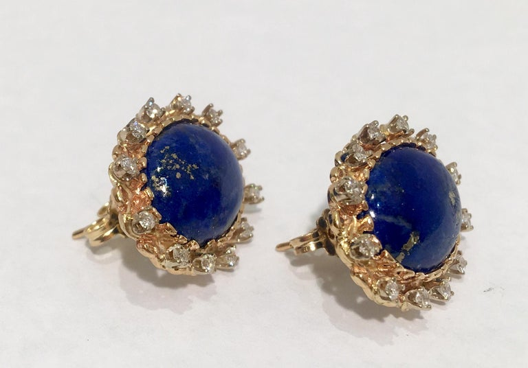 Contemporary Vivid Blue Large Oval Lapis Lazuli Diamond Halo 18 Karat Gold Post Earrings For Sale