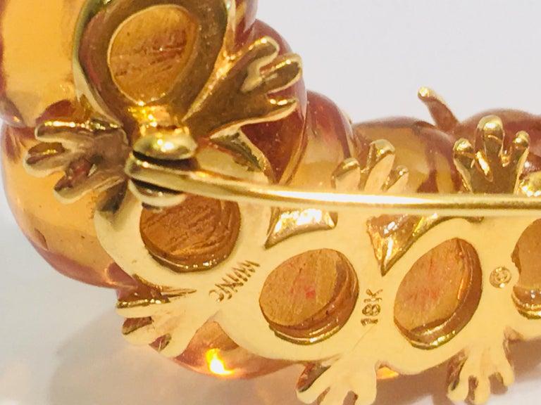 Robert Wander WINC 18k Yellow Gold Carved Citrine Diamond Caterpillar Brooch Pin For Sale 1