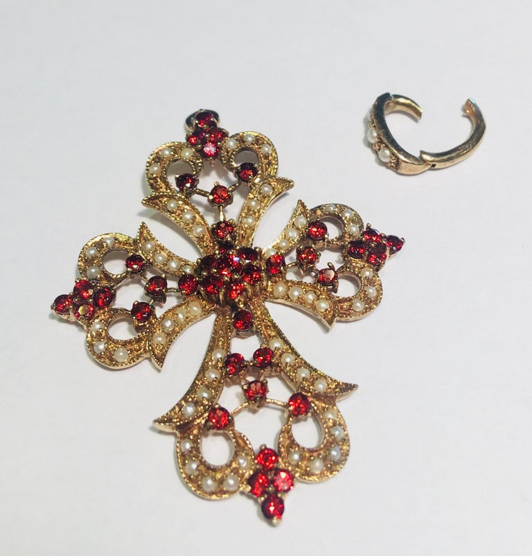Round Cut 1930s Baroque Garnet and Seed Pearl Yellow Gold Filigree Cross Enhancer Pendant For Sale