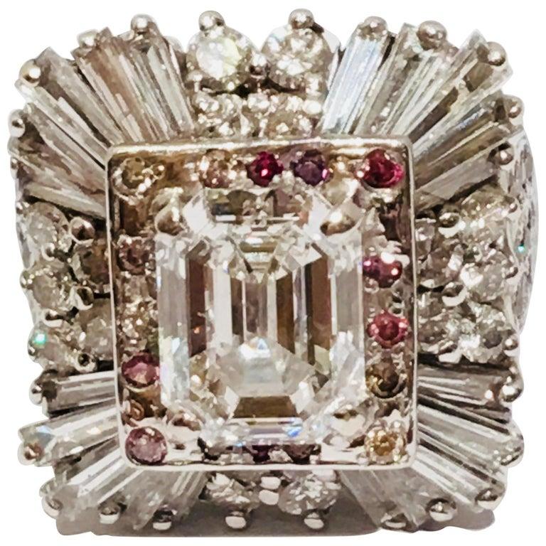 GIA Certified 3 Carat Center VVS1 - D Cut-Cornered Emerald Cut Diamond Ring 18k