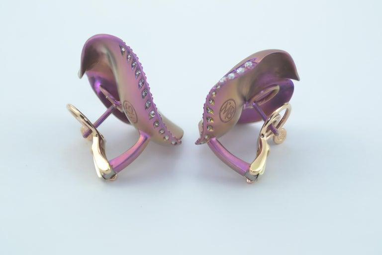 Contemporary Margherita Burgener Pink Titanium Diamond 18 Karat Gold Clip Stud Earrings For Sale