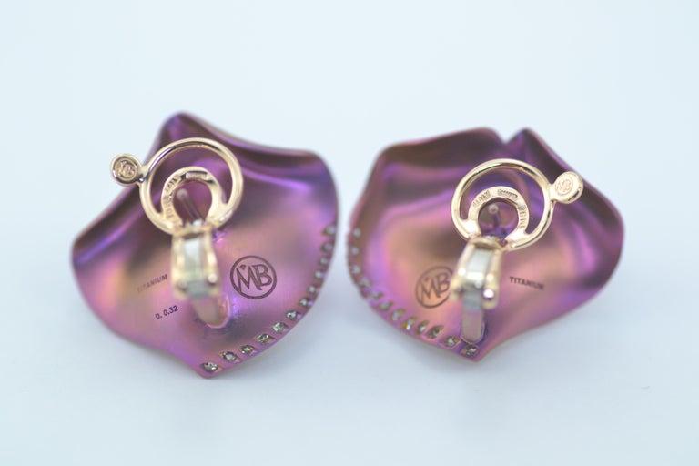 Round Cut Margherita Burgener Pink Titanium Diamond 18 Karat Gold Clip Stud Earrings For Sale