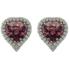 Margherita Burgener Pink Tourmaline Heart Shape 18 Karat Gold Clip Earrings