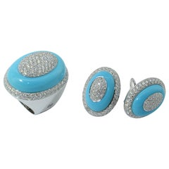 Margherita Burgener 18KT Gold Diamond Natural Turquoise  Cocktail Ring Earclips