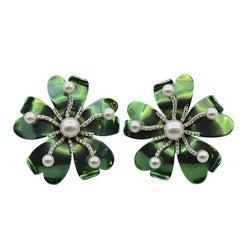 Earrings Margherita Burgener  GreenTitanium Diamond  Pearls 18 Karat Gold Clip