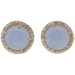 Earrings Margherita Burgener 18 Karat Rose Gold Diamond Chalcedony Clip Lobe