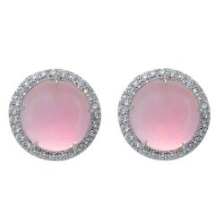 Earrings Margherita Burgener White Gold Diamond 0.48 Carat Pink Quartz Cabochon
