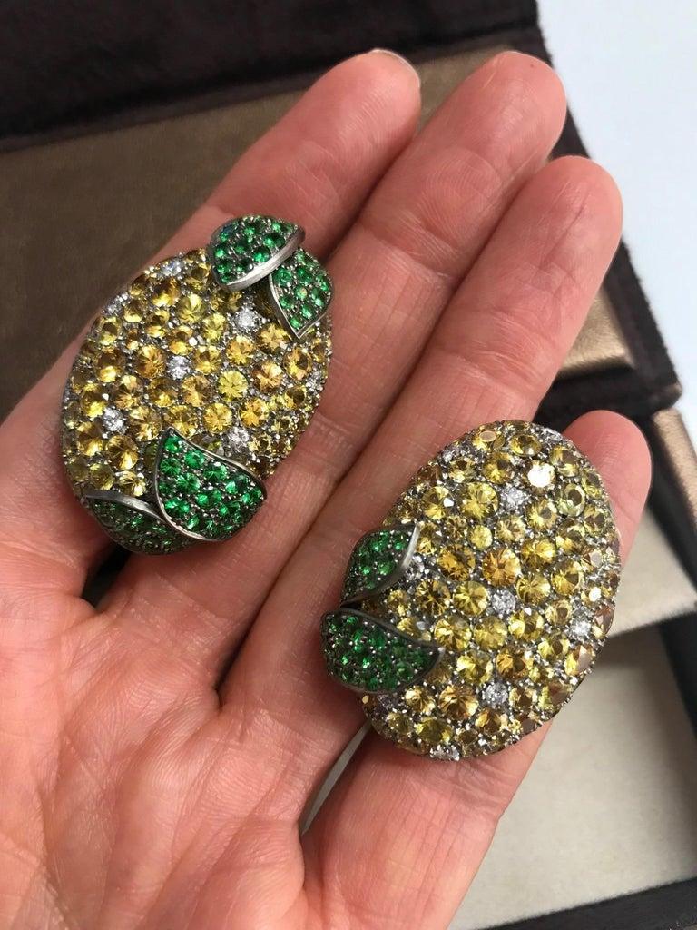 Round Cut Margherita Burgener Yellow Sapphires Tsavorite Diamond Titanium Gold Earrings For Sale