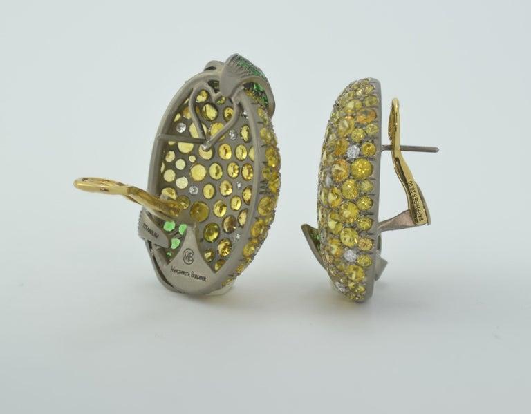 Margherita Burgener Yellow Sapphires Tsavorite Diamond Titanium Gold Earrings In New Condition For Sale In Valenza , IT