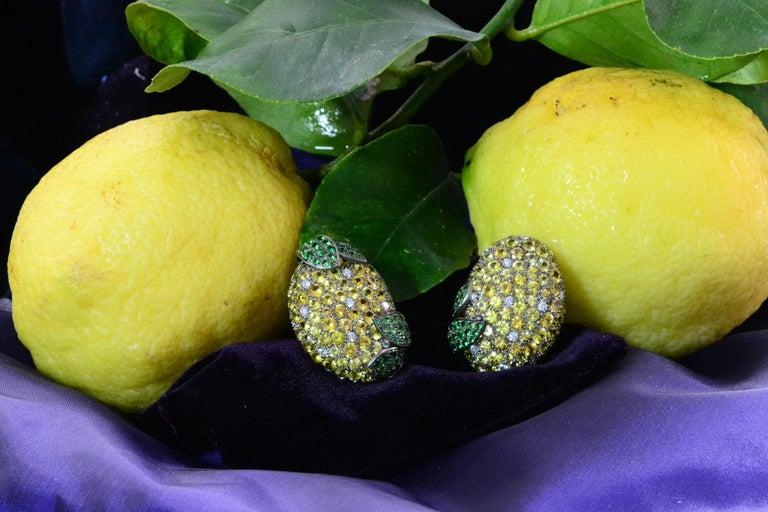 Margherita Burgener Yellow Sapphires Tsavorite Diamond Titanium Gold Earrings For Sale 1