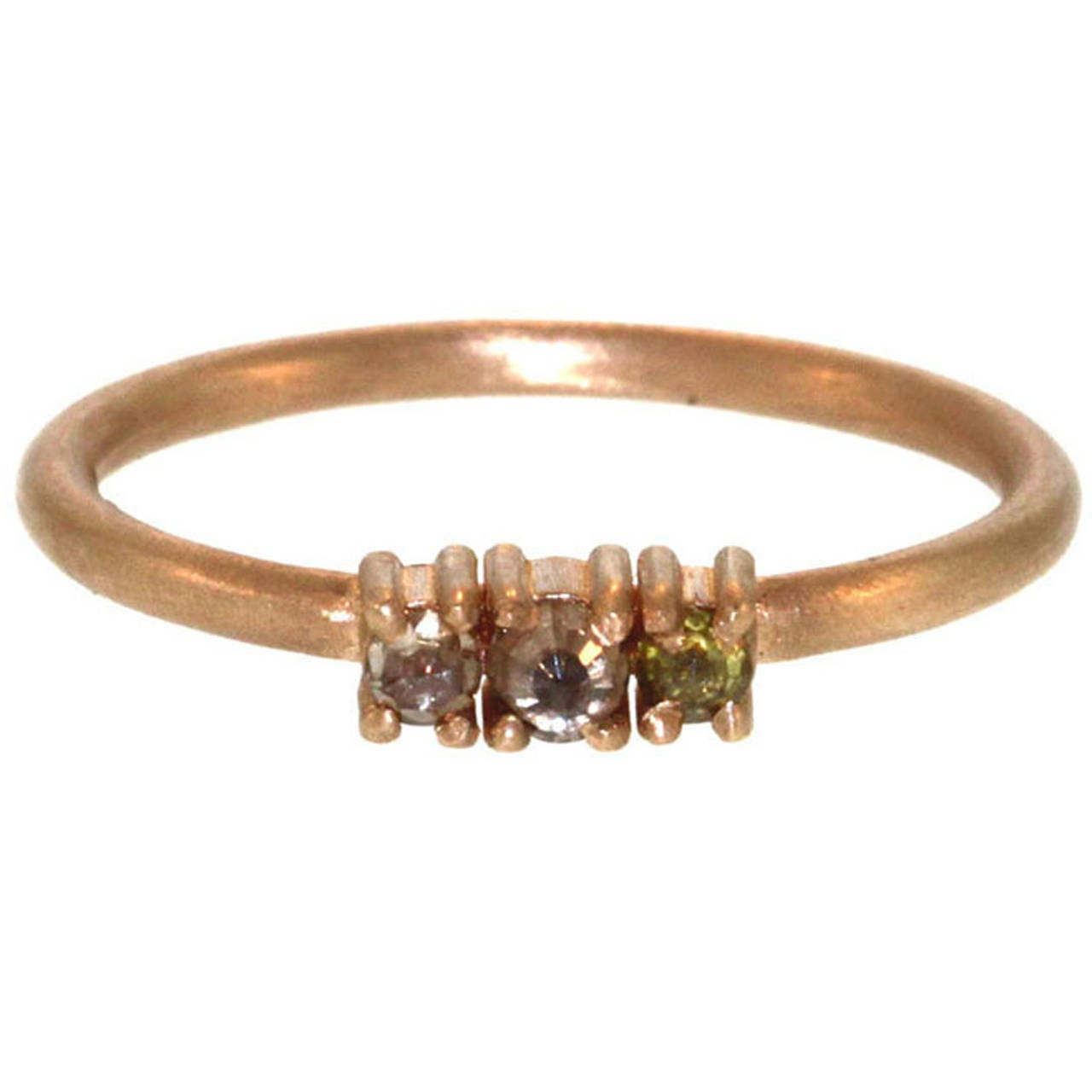 Triple diamond gold ring at 1stdibs for Triple j fine jewelry