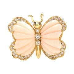 Butterfly Brooch in Coral in 18 Karat Gold