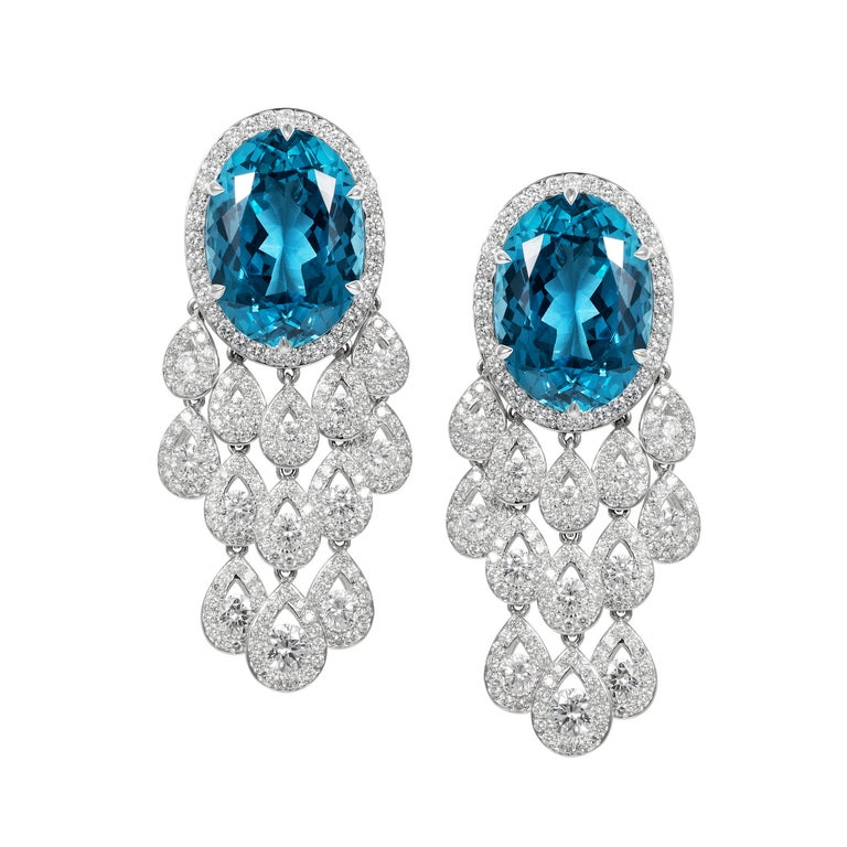 Tabbah 18 Karat White Gold Topaz and Diamond Earrings