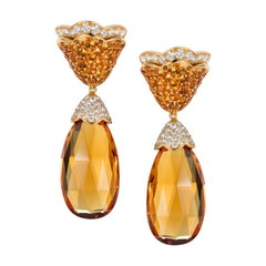 Tabbah 18 Karat Yellow Gold Citrine and Diamond Earrings