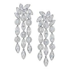 Tabbah 18 Karat White Gold Diamond Cascade Drop Earrings