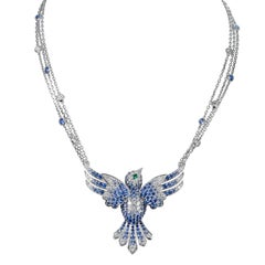 Tabbah 18 Karat White Gold Sapphires and Diamond Hummingbird Necklace