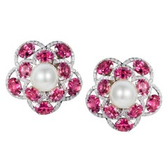 Tabbah 18 Karat White Gold Tourmaline Diamond and Pearl Earrings