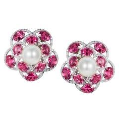 Tabbah 18 Karat White Gold Tourmaline Diamond and Pearl Earrings