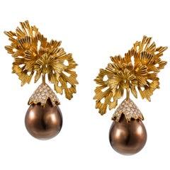 Tabbah 18 Karat Yellow Gold South Sea Brown Pearl Diamond Earrings