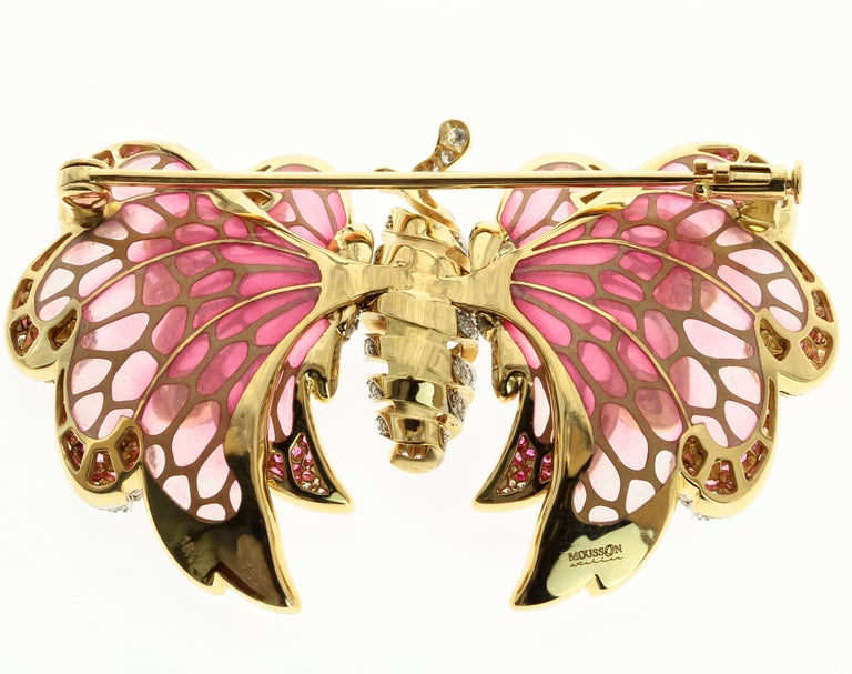 18 Karat Gold Butterfly Brooch, Diamonds and Vitrage Enamel are combined in this   Pink Sapphire Enamel   56mm x 34mm x 10mm 21.01 gms