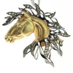 Diamond 18 Karat Yellow Gold Horse Head Brooch