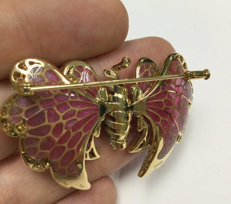 Women's 18 Karat Yellow Gold Diamond Pink Sapphire Enamel Butterfly Brooch For Sale