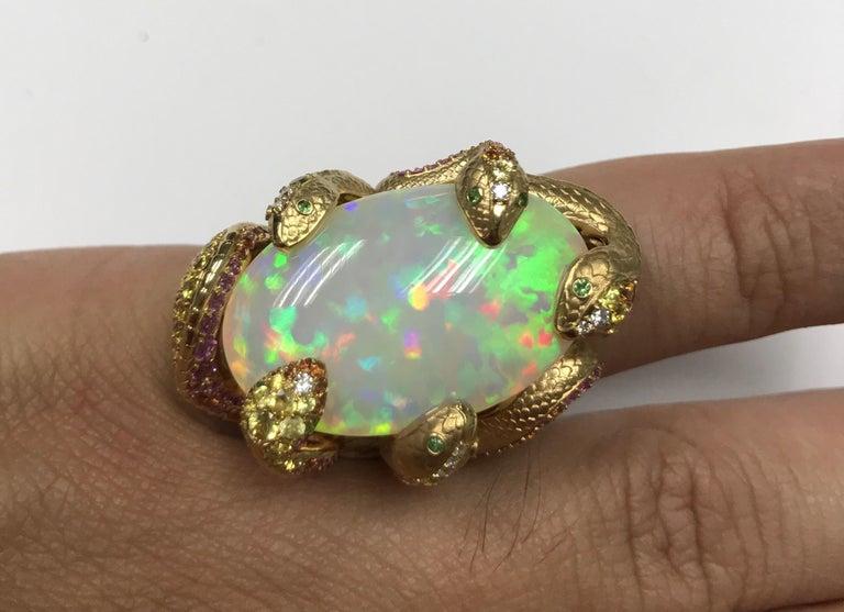 26.33 Carat Opal, 18 Karat Yellow Gold Snake Ring For Sale 5