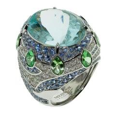 Aquamarine Tsavorite Diamonds Sapphire 18 Karat White Gold Oriental Ring