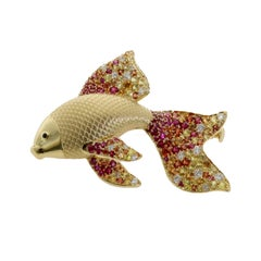 Diamond, Multicolored Sapphire Golden Fish, 18 Karat Yellow Gold, Brooch