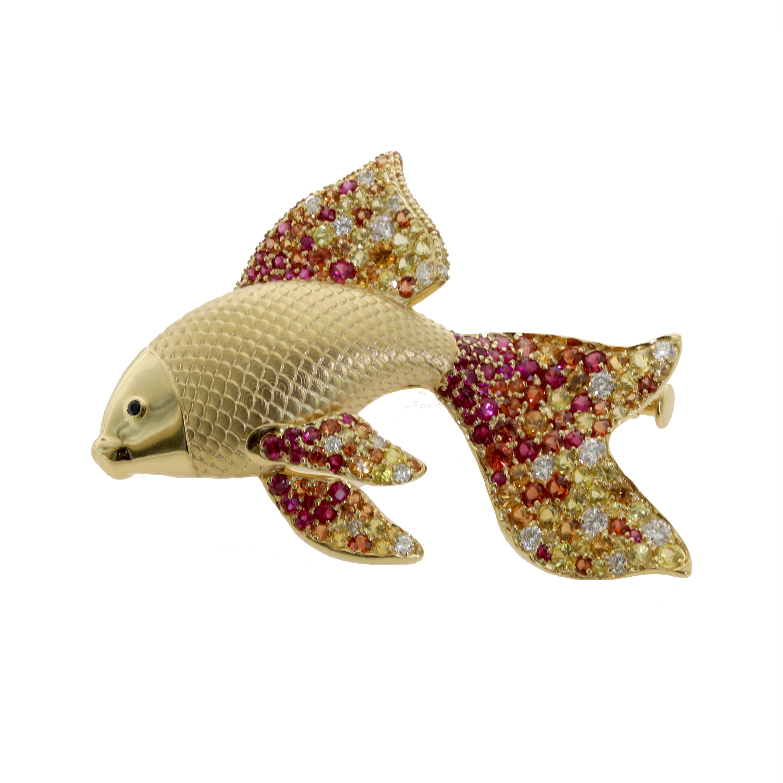 Diamond Multicolored Sapphire 18 Karat Yellow Gold Golden Fish Brooch