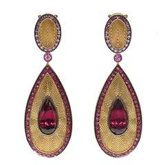 Ruby Pink Sapphire Rhodolite Garnet 18 Karat Yellow Gold Classical Earrings